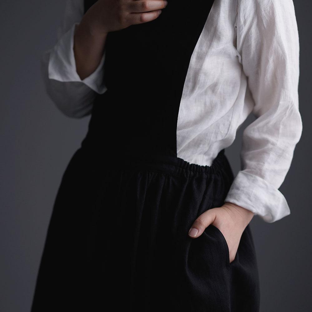【wafu】Linen Overall Dress リネン ジャンパースカート /黒 a001b-bck1