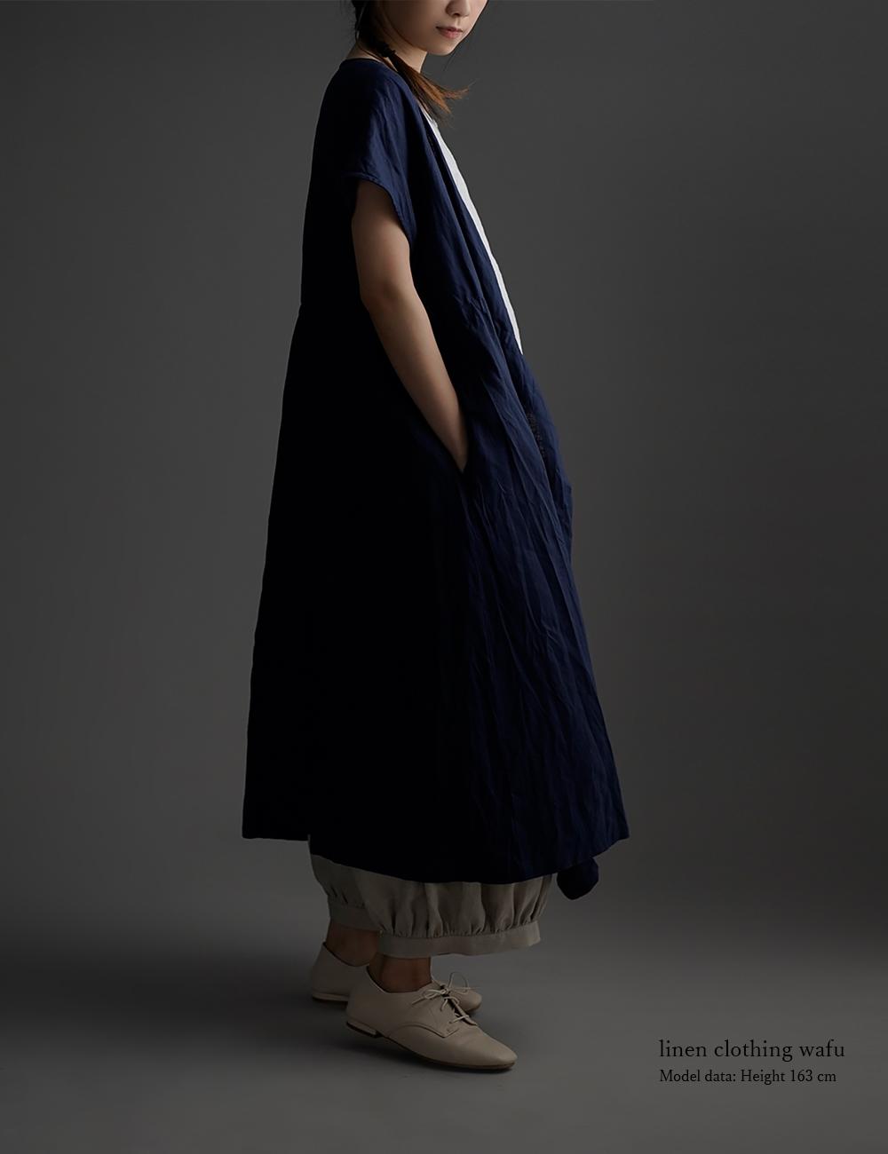 【wafu】 Linen Cache-coeur Dress リネン カシュクール 2way ハンドワッシャー 薄地 / オリエンタルブルー【free】a005a-obn1