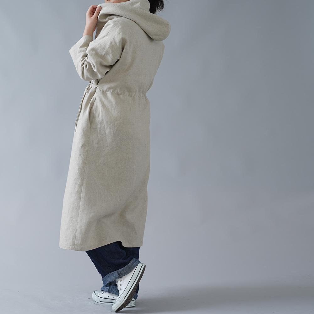 【wafu】中厚 リネン カシュクール フードコート ロング丈 長袖ワンピース/亜麻ナチュラル a005c-amn2