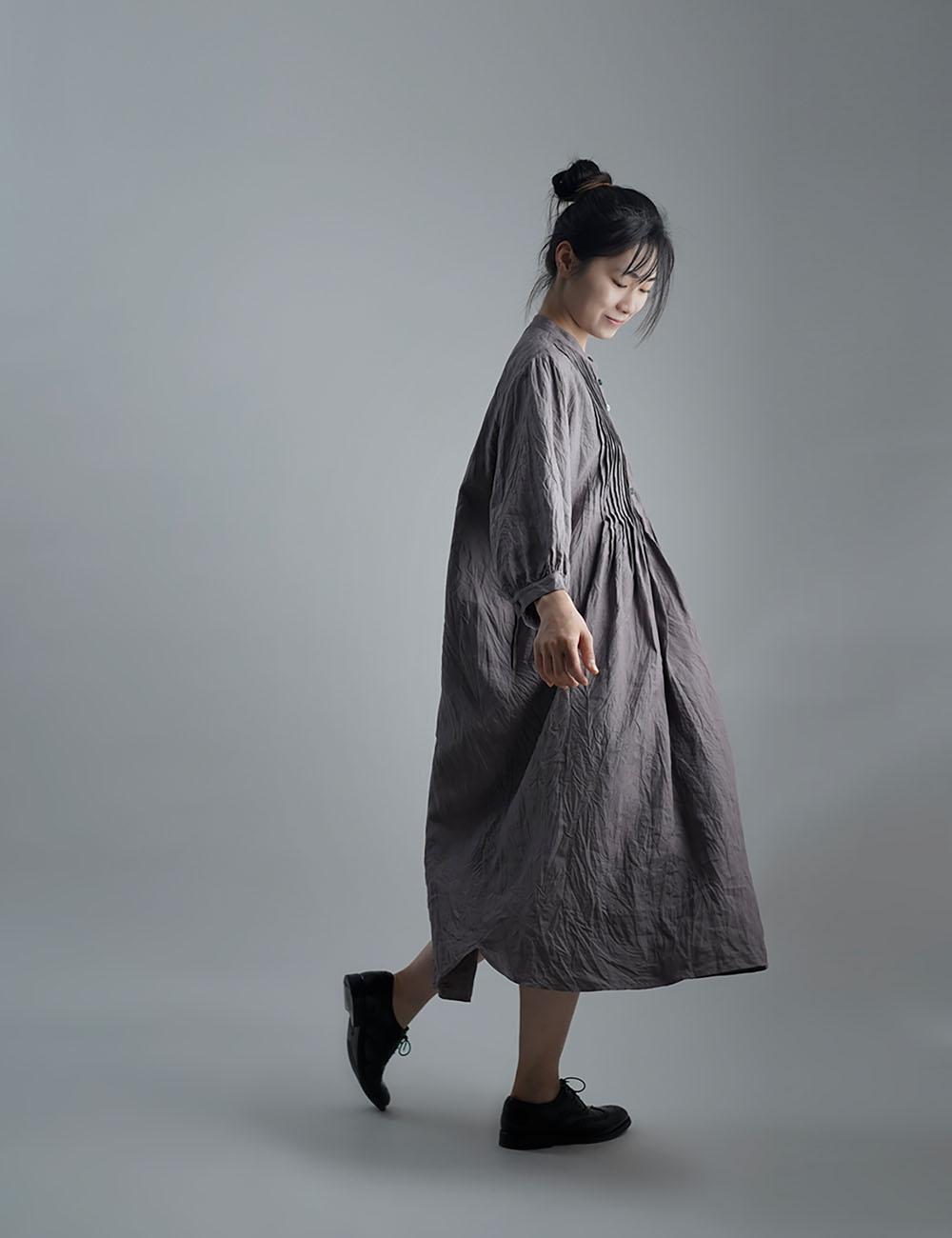 【wafu】Linen Dress 超高密度リネン ピンタックワンピース /茶鼠(ちゃねずみ) a006b-cnz1