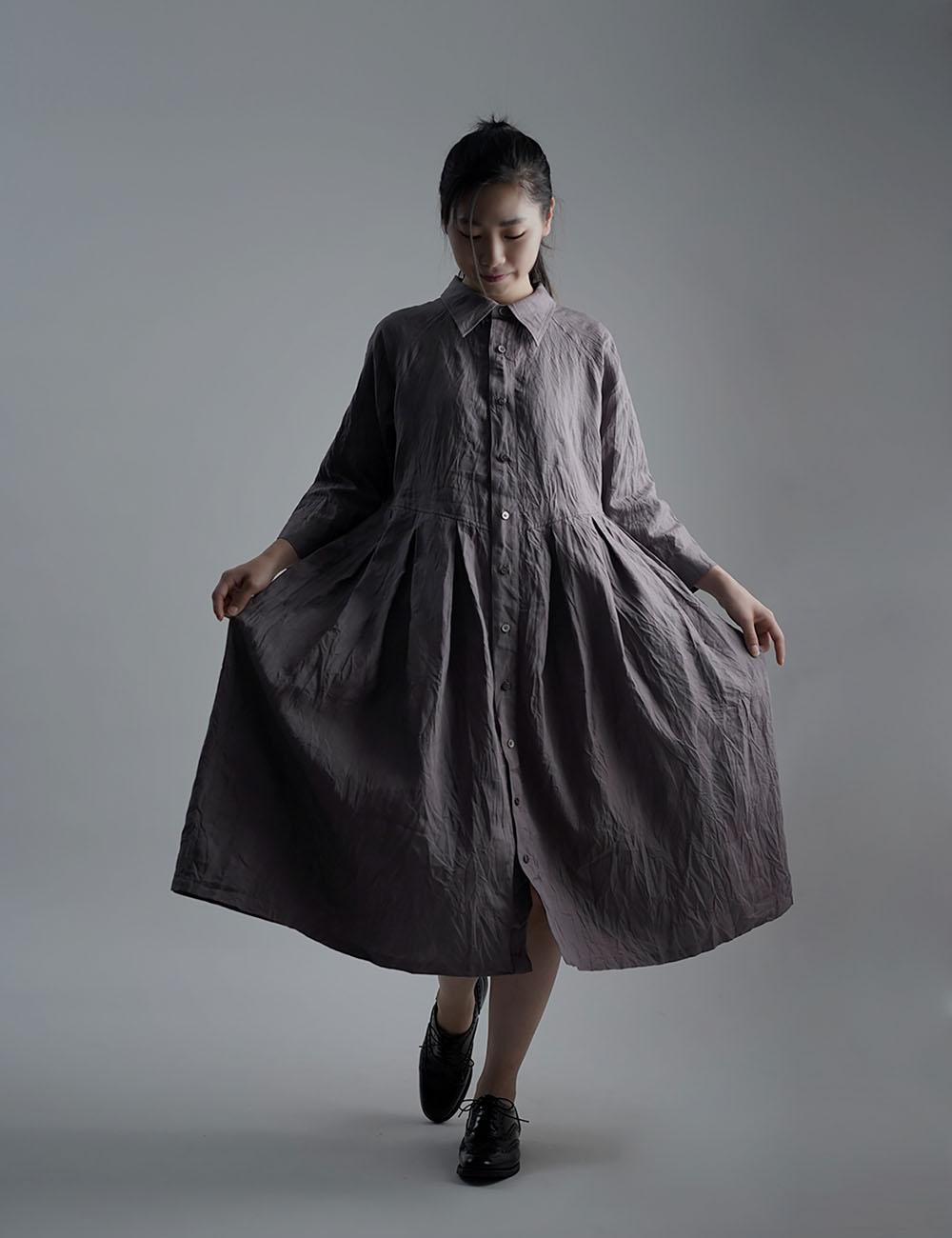 【wafu】Linen Dress 超高密度リネン ワンピース / 茶鼠(ちゃねずみ) a013j-cnz1