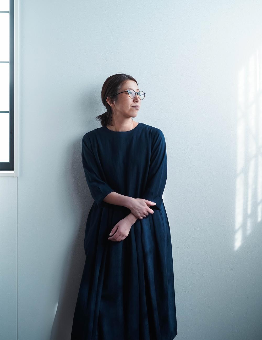 【wafu】Linen Dress   鍵盤タックワンピース /留紺(とめこん) a013o-tmk1