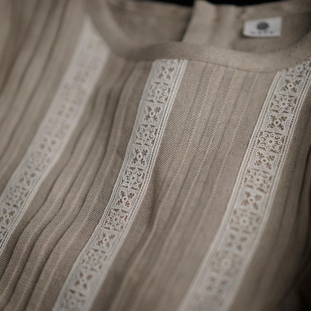 【wafu】Portman (ポートマン)  Embroidered Linen Pintuck Dress リネンドレス ピンタック mokubaレース  / a014c