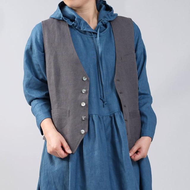 【wafu】中厚リネンパーカーワンピース フードの魔術師 パーカードレス /ブルーパッセ【free】a018c-bps2