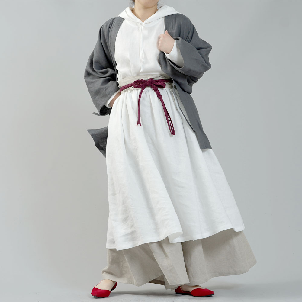 【wafu】中厚リネンパーカーワンピース フードの魔術師 パーカードレス /ホワイト【free】a018c-wht2
