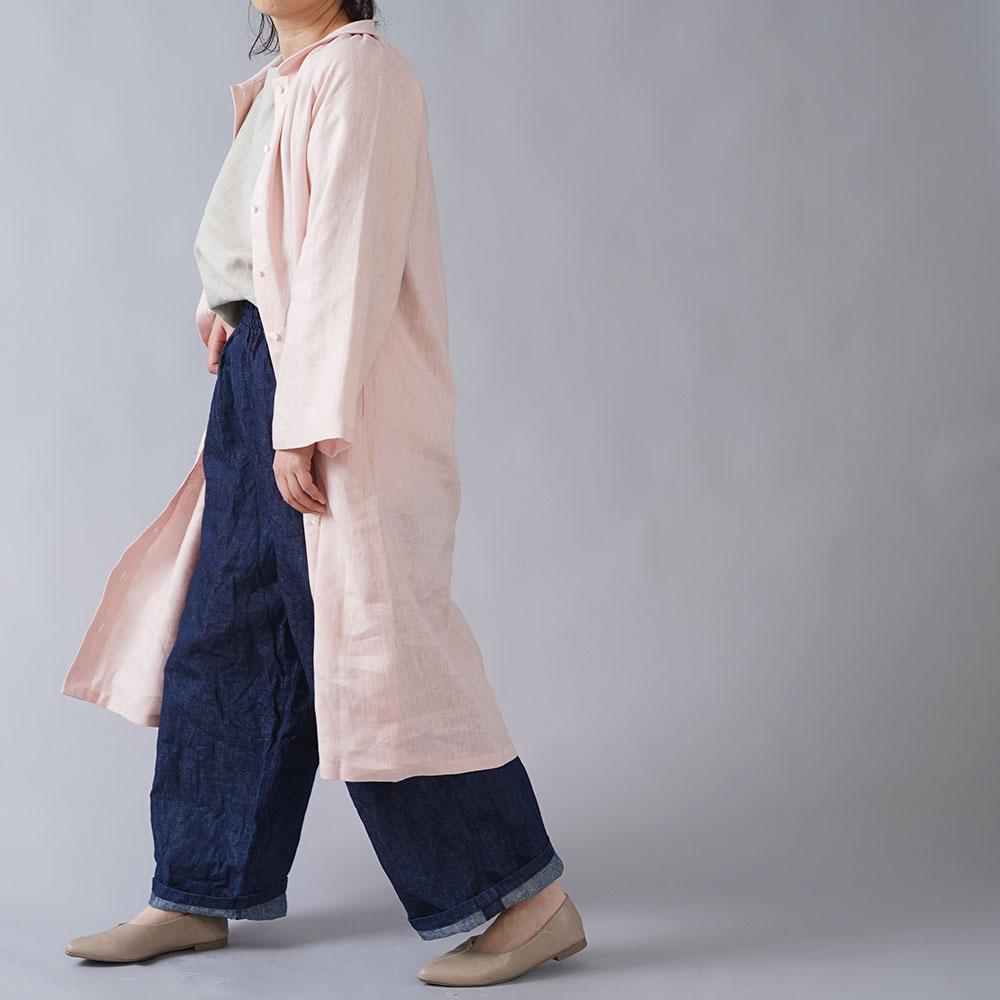 【wafu】 ちび襟 前開き羽織 ワンピース 中厚リネン  /シェルピンク a026e-spk2