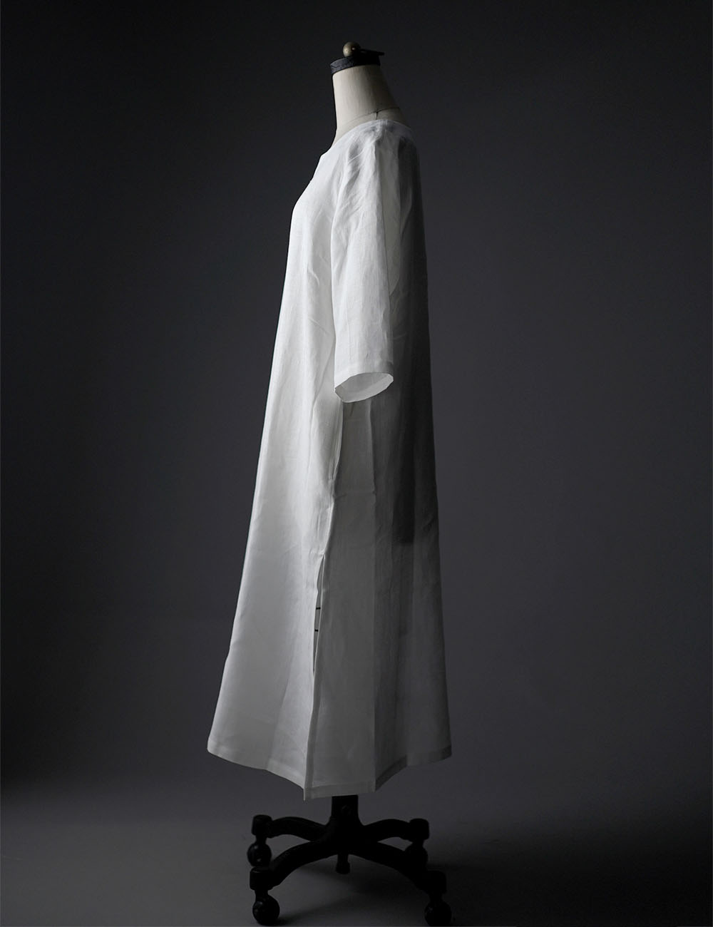 【wafu】Side Slit Linen Dress リネンワンピース サイドスリット 中厚地 /ホワイト a032f-wht2