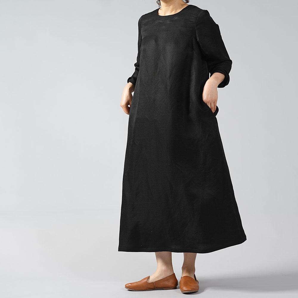 【wafu 受注販売】フォーマルリネン linenシルク Aライン ワンピース/ブラック a032i-bck2