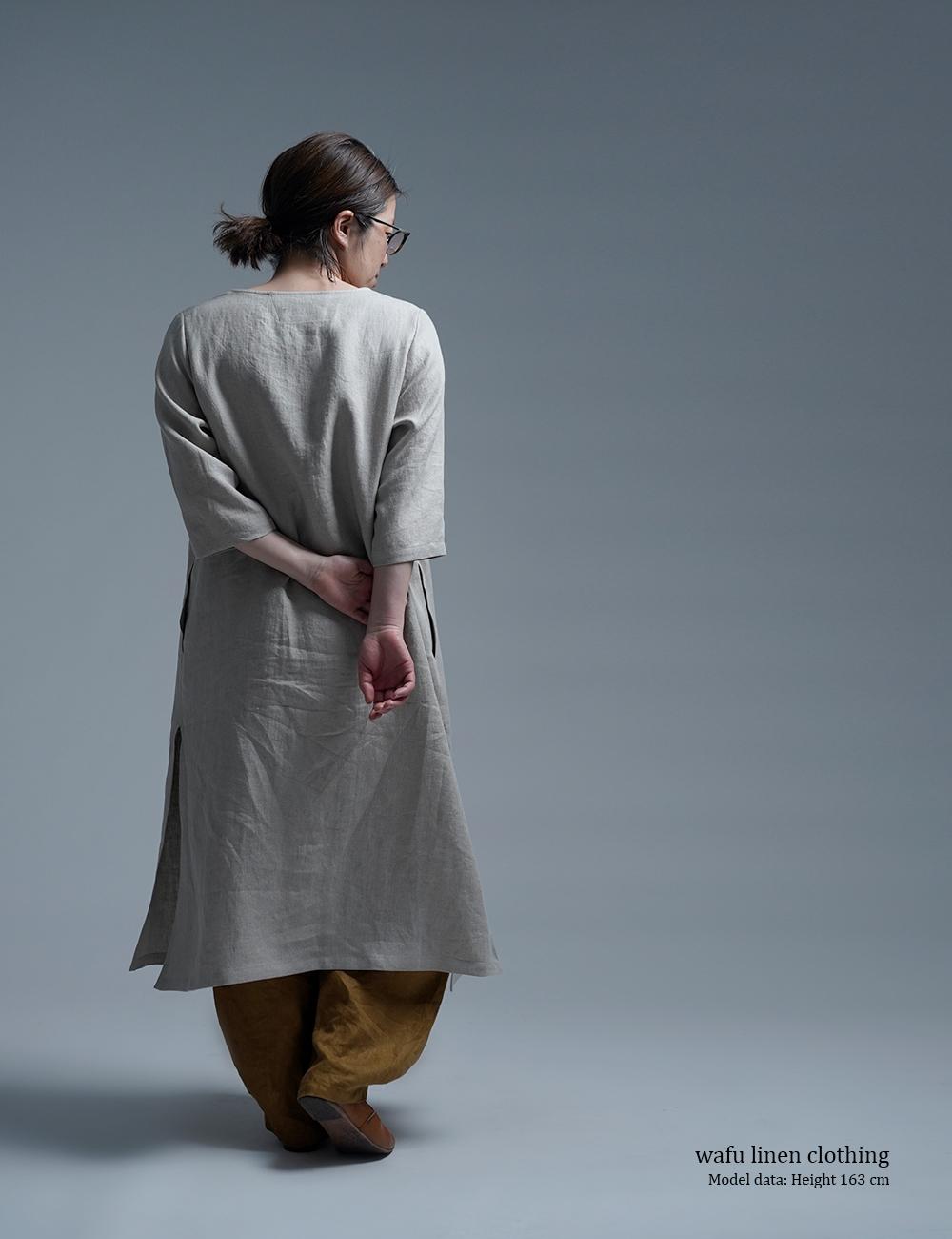 【wafu】Wafu Premium Linen スリットワンピース / フラックス a032j-fix2