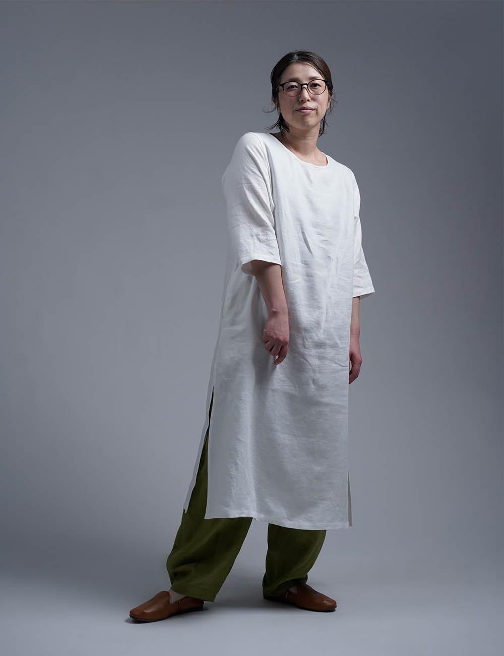 【wafu】Wafu Premium Linen スリットワンピース / ホワイト a032j-wht2