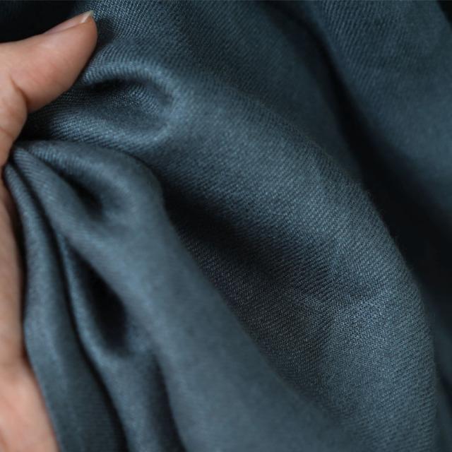 【wafu】中厚 高密度リネン フロントギャザーのスタンドカラードレス ラウンドテール 先染め  綾織リネン 全て国内織り・染め 加工/アクアマリン【free】a034a-aqm2