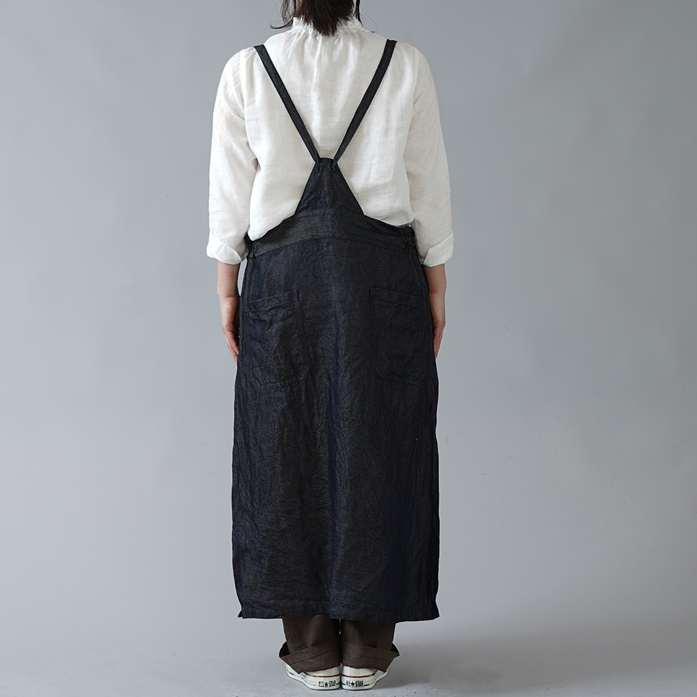 【wafu】厚地 岡山リネンデニム タブリエ work apron / ダークインディゴ【free】a037a-din3