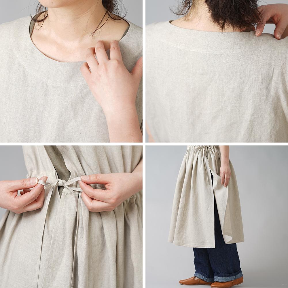 【wafu】やや薄手 リネン タックとギャザーのドレス エプロン 重ね着に /亜麻ナチュラル a037b-amn1