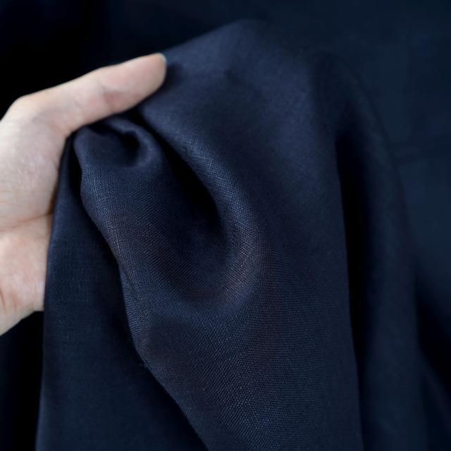 中厚 リネンワンピース タック増量中 バックリボン ふんわり パフスリーブ ドレス 長袖/ネイビー【M-L】a039a-neb2