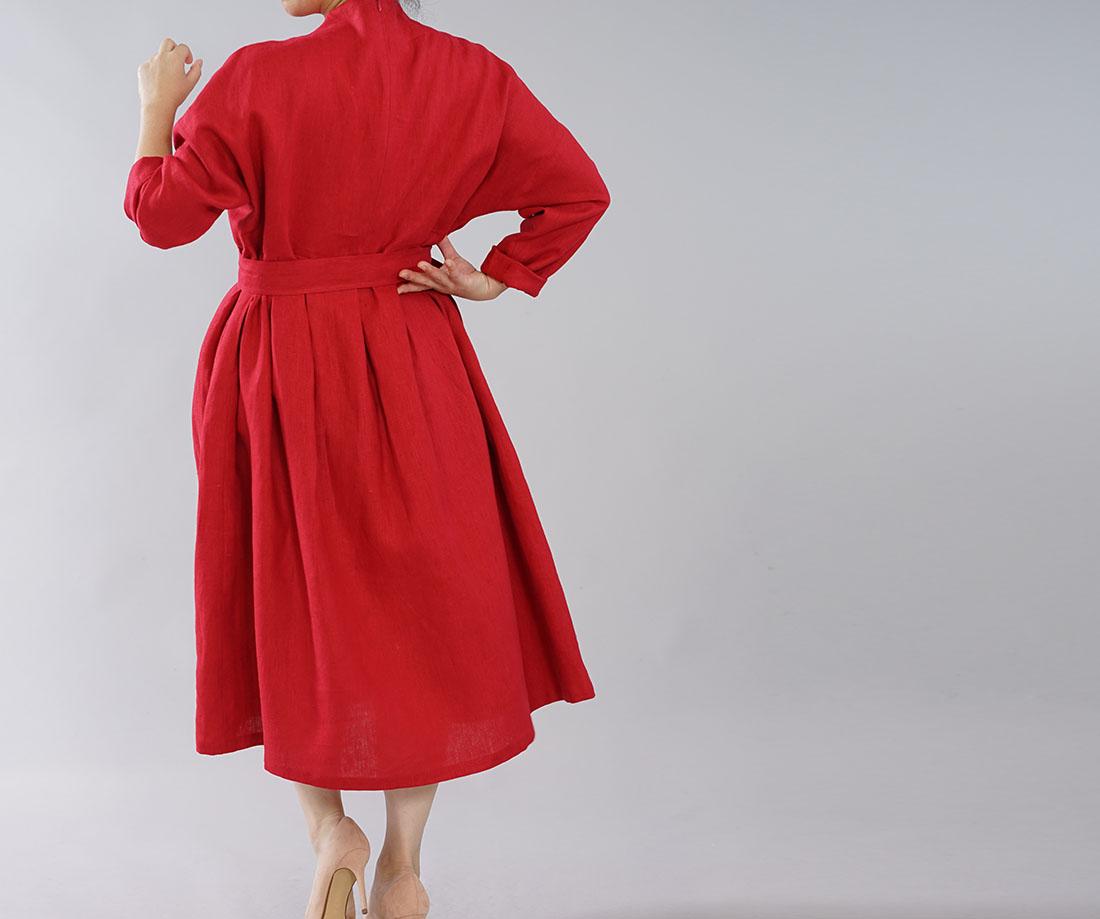 中厚 リネンワンピース レイズド ネックライン ドロップショルダー 長袖 タック ドレス 紐付き / レッド【M-L】a048c-red2