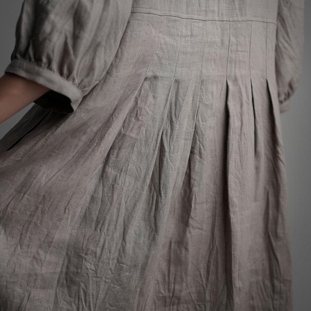 【wafu】Linen Dress Vネックワンピース / アッシュパール a062a-asp2