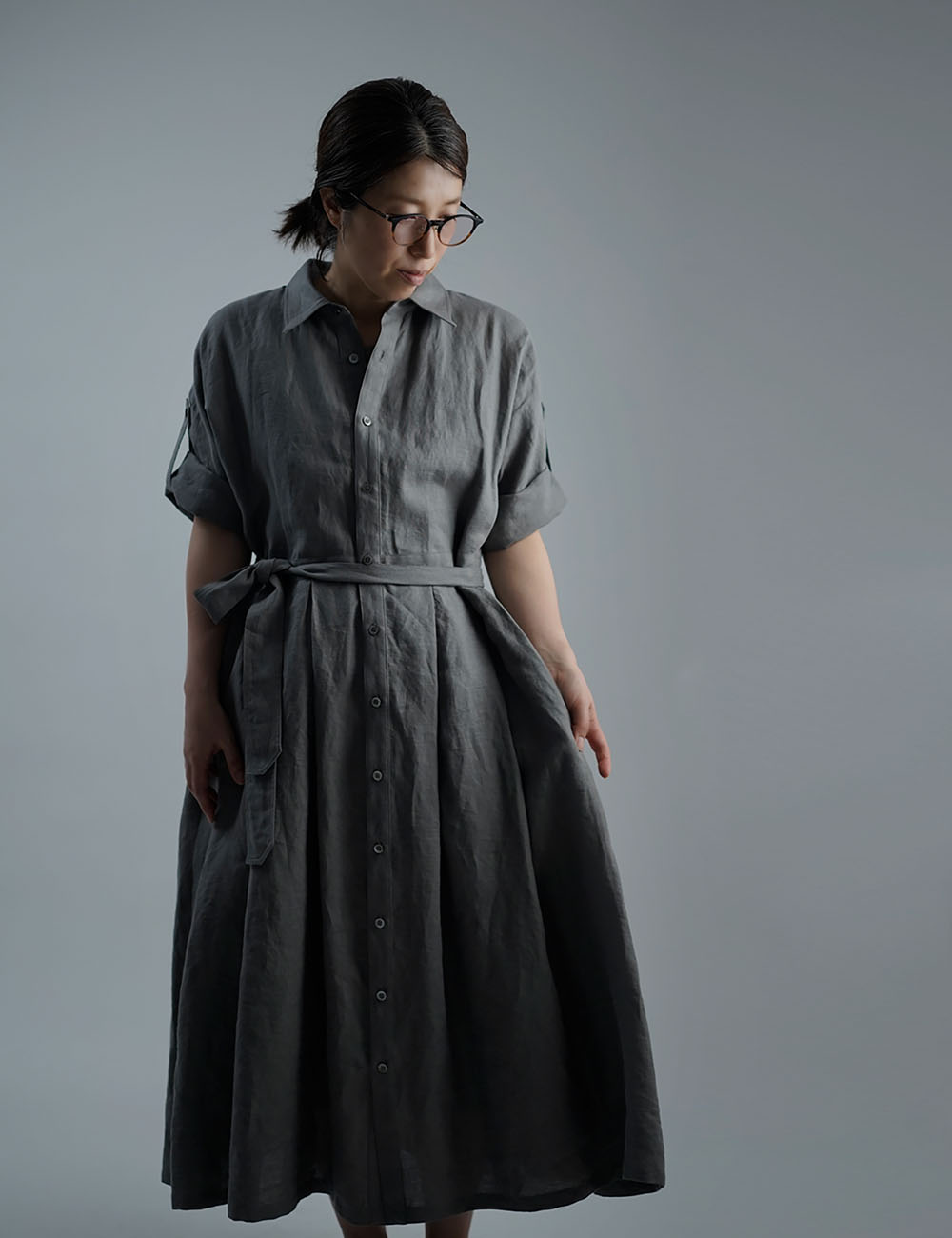【wafu】Linen Dress   2wey ワンピース  アウターにも / 鈍色(にびいろ) a064a-nib1