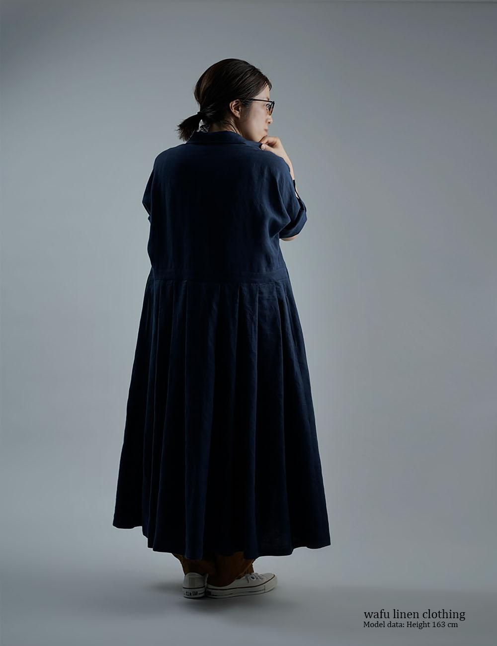 【wafu】Linen Dress   2wey ワンピース  アウターにも / 留紺 a064a-tmk1