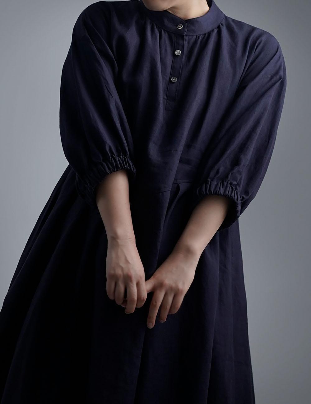 【wafu】Linen Dress スタンドカラーワンピース 超高密度リネン /黒紅色 a073i-kbi1