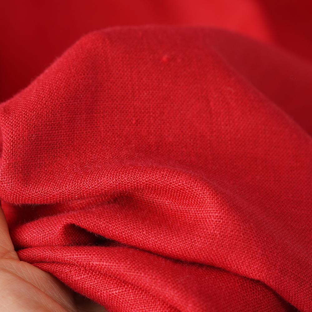 中厚 リネン ワンピース アワーグラス ウエストダーツ リネンドレス 七分袖 膝下丈 丸首 リネンワンピ Aライン/レッド【M-L】a074a-red2