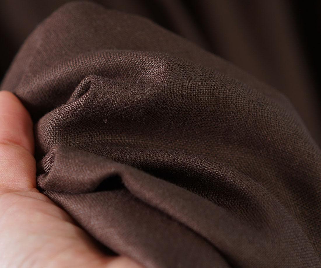 中厚 リネンワンピース 2way ピンタック ドレス 羽織にも シャツ襟 ラグランスリーブ 長袖 / アドーブブラウン【free】a081j-abn2