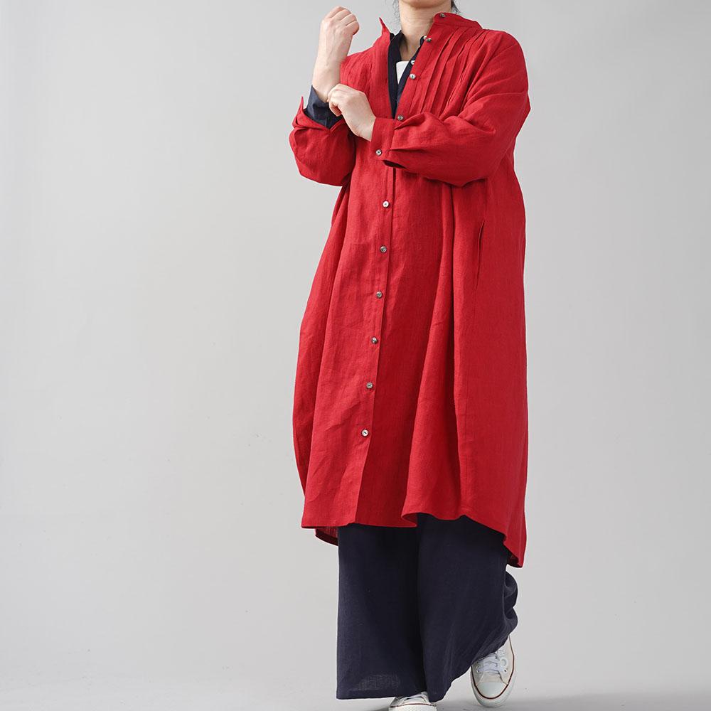 中厚 リネンワンピース 2way ピンタック コクーンドレス スタンドカラー ラグランスリーブ 前開き 羽織 アウター シャツワンピース/レッド【free】a081k-red2