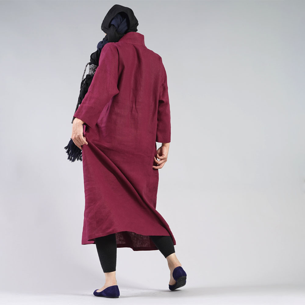 【wafu】中厚 リネン ワンピース 着物襟 ドルマンスリーブ ドレス 禅 和装 九分袖/シュールージュ【サイズ】a084a-srg2