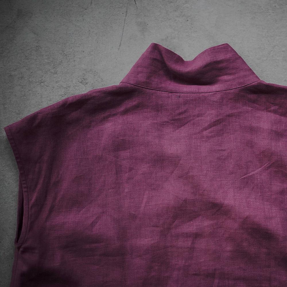 【wafu】リネン フレンチスリーブ サイドスリット 禅 着物襟 重ね着 中厚 / ブーガンヴィレ a084c-bvl2