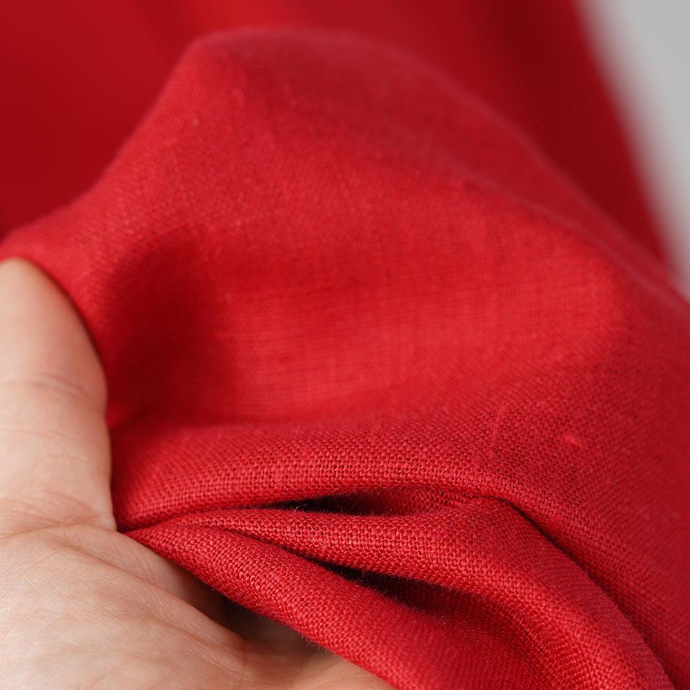 【wafu】中厚 リネン ワンピース 着物衿 禅 和装 ウエストタック ロング丈 ミモレ丈 半袖 フレンチスリーブ リネン100% ドレス/レッド【free】a084d-red2