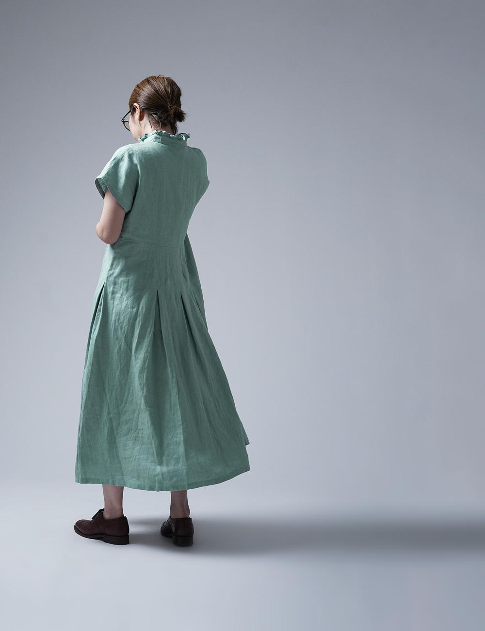 【wafu】Ruffle neck pintuck dress リネン ワンピース ハンドワッシャー 中厚 / スカイミント【free】a090a-skm2