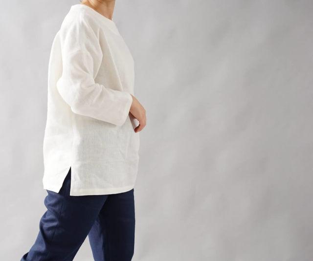 中厚 リネン ブラウス ドルマンスリーブ トップス 裾スリット 長袖 linen100% / ホワイト【free】t002b-wht2