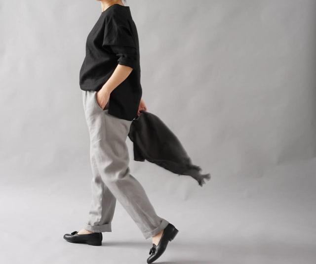 中厚 リネン ブラウス ドルマンスリーブ トップス 裾スリット 長袖 linen100% / ブラック【free】t002b-bck2