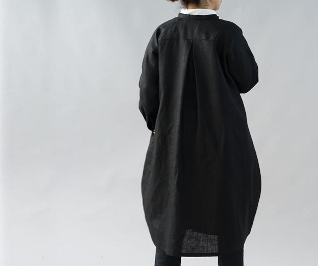 中厚 リネンワンピース 2way ピンタック コクーンドレス スタンドカラー ラグランスリーブ / ブラック【free】a81-30