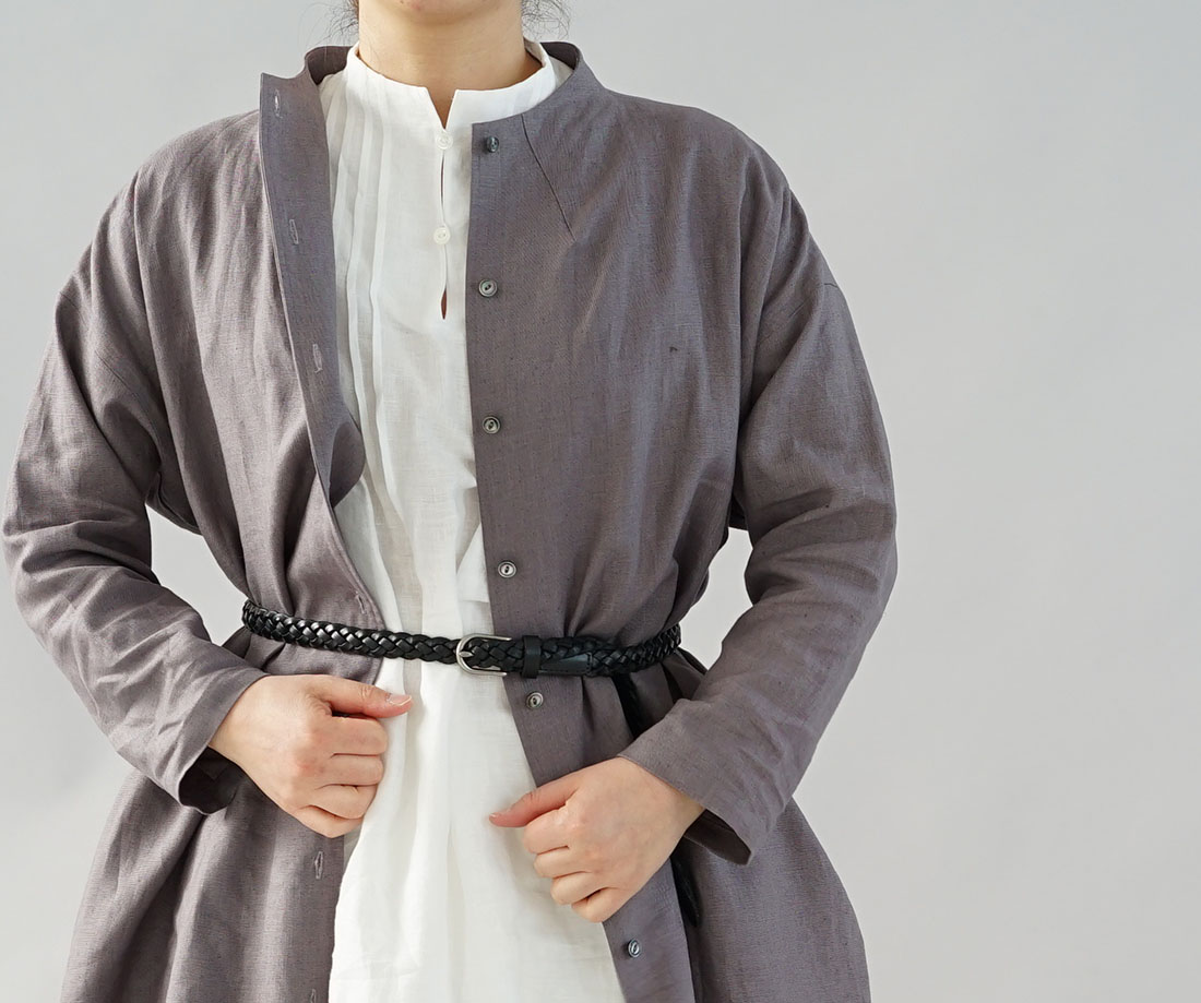 【wafu】薄地 雅亜麻 リネン ワンピース ペチワンピースにも ハイネック ピンタック 2way やさしい インナー ドレス 肌着 下着 / 白色【M-L】a81-32