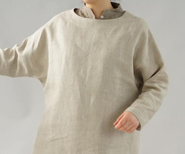【wafu】薄地 雅亜麻 リネン ワンピース ペチワンピースにも ハイネック ピンタック 2way やさしい インナー ドレス 肌着 下着 / 榛色(はしばみ)【M-L】a81-33