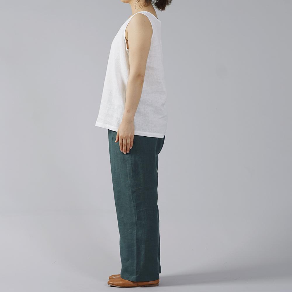 【wafu】薄地 雅亜麻 リネン パンツ リラックスパンツ ボトムス ウエストゴム ポケットあり/高麗納戸(こうらいなんど) b001a-kou1
