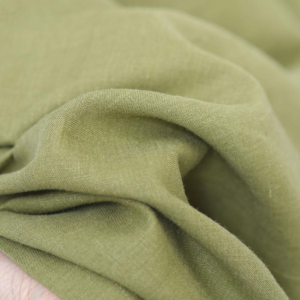 【wafu】やや薄地 リネン ストレートパンツ リラックスパンツ 糸から染める 先染めリネン40番手/鶸萌黄(ひわもえぎ) b001m-hmg1