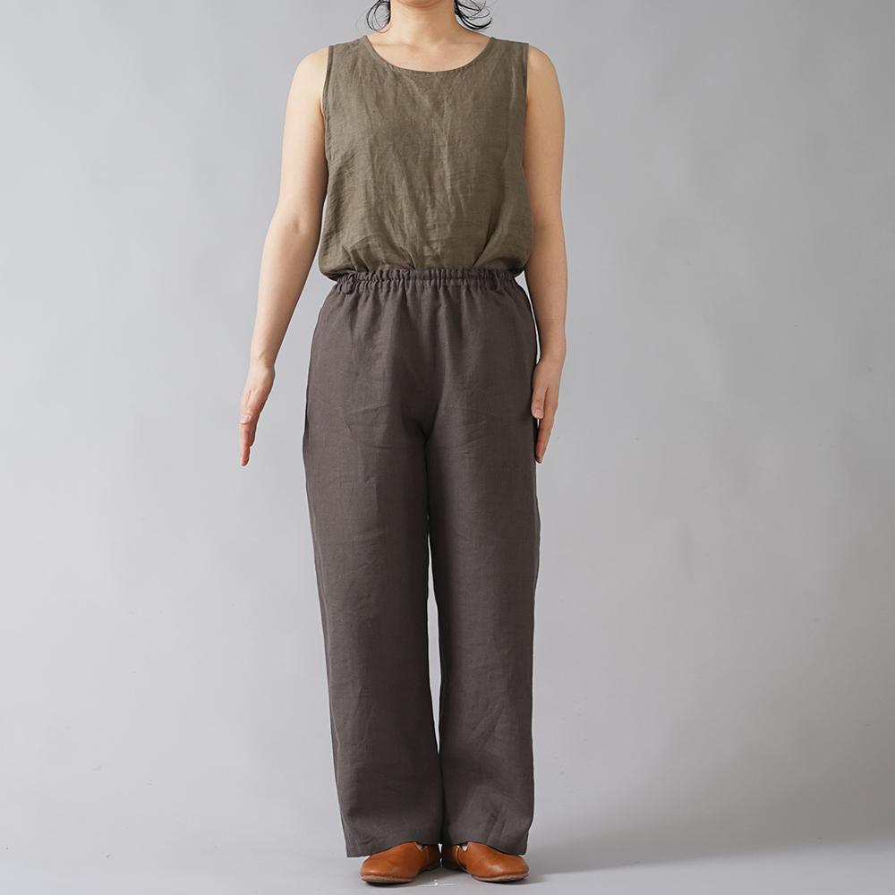 【wafu】やや薄地 リネン ストレートパンツ リラックスパンツ 糸から染める 先染めリネン40番手/樺茶色(かばちゃいろ) b001m-kab1