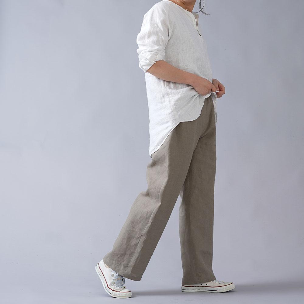 【wafu】やや薄地 リネン ストレートパンツ リラックスパンツ 糸から染める 先染めリネン40番手 /利休色(りきゅういろ) b001m-rku1