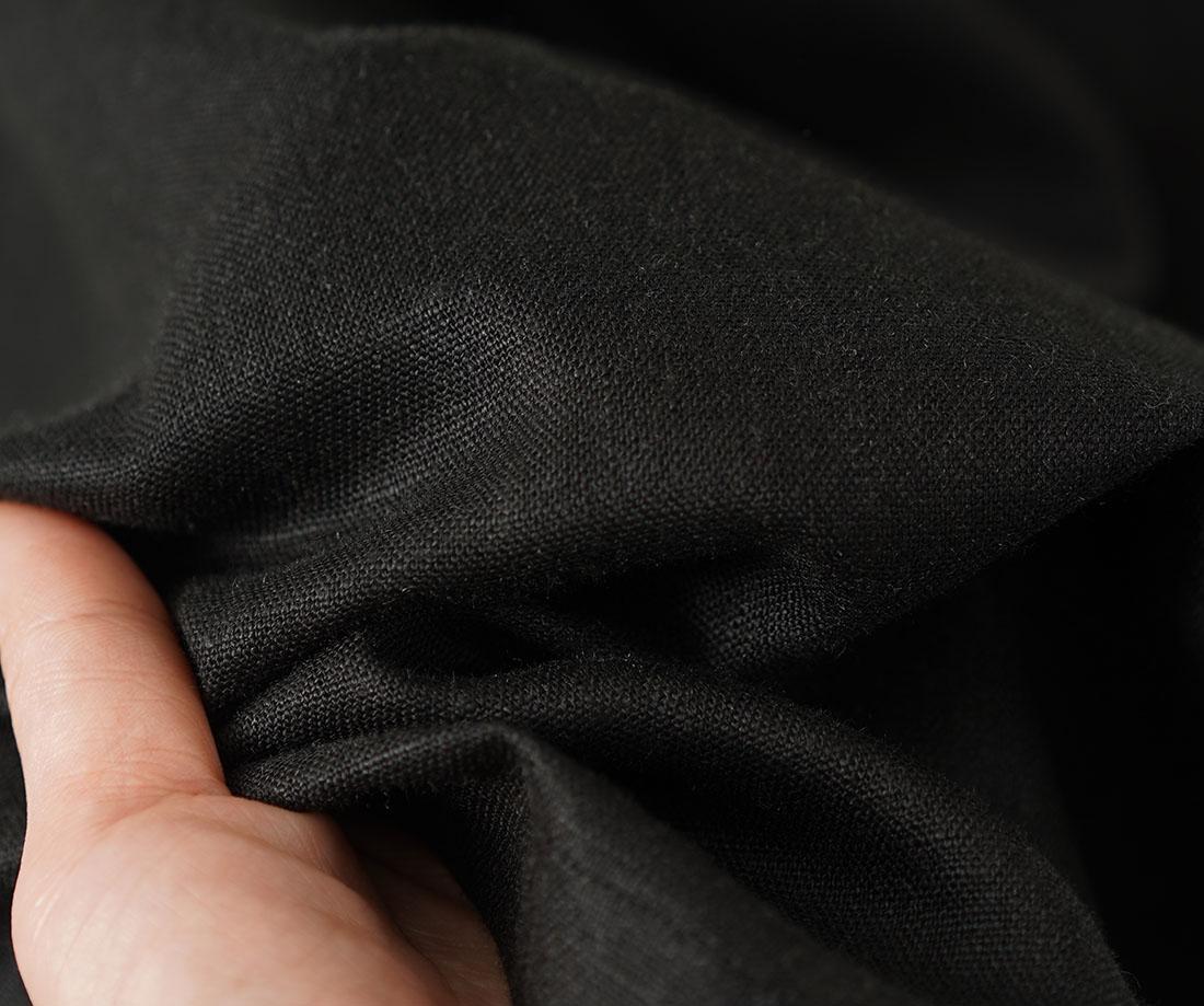 中厚 リネンワイドパンツ スカーチョ キュロットパンツ ボトムス ワイドパンツ クロップド丈 ウエストゴム / ブラック【M-L】b002a-bck2