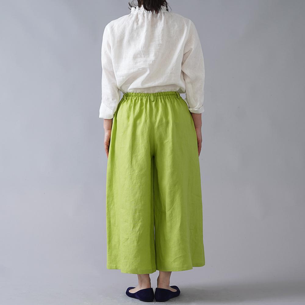 【wafu 入門編】中厚 リネンクロップド ワイドパンツ /シャルトリューズ b002n-str2
