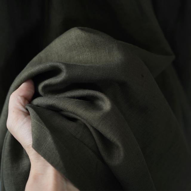 やや薄地 リネン 揺れるキュロットパンツ ギャザーヨークのロングパンツ リネンワイドパンツ 40番手/柳煤竹(やなぎすすたけ)【free】b003a-ysk1