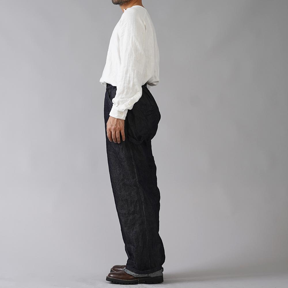 【wafu】厚地 岡山リネンデニム ペインターパンツ ワイドパンツ 丈長め・股上深め/ダークインディゴ b004e-din3-m