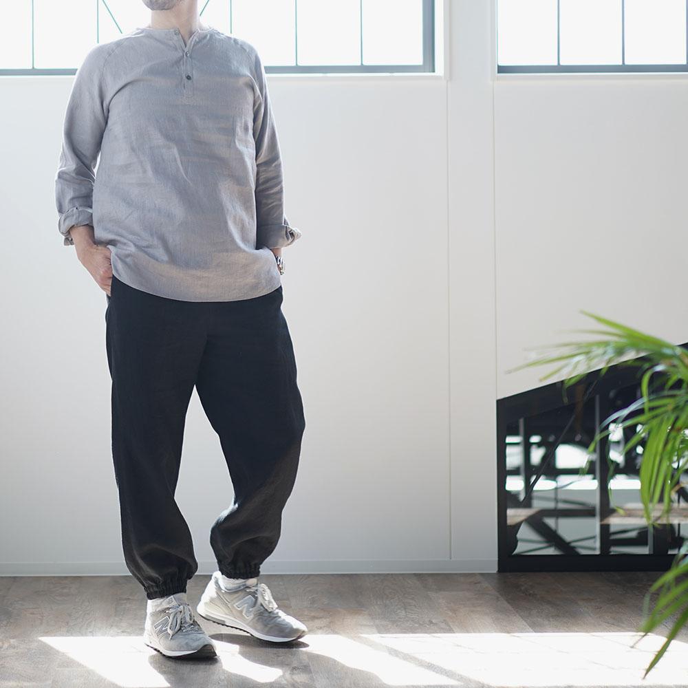 【wafu】リネンもんぺ  中厚リネン ヨガ スポーツウェアにも/ブラック b005d-bck2
