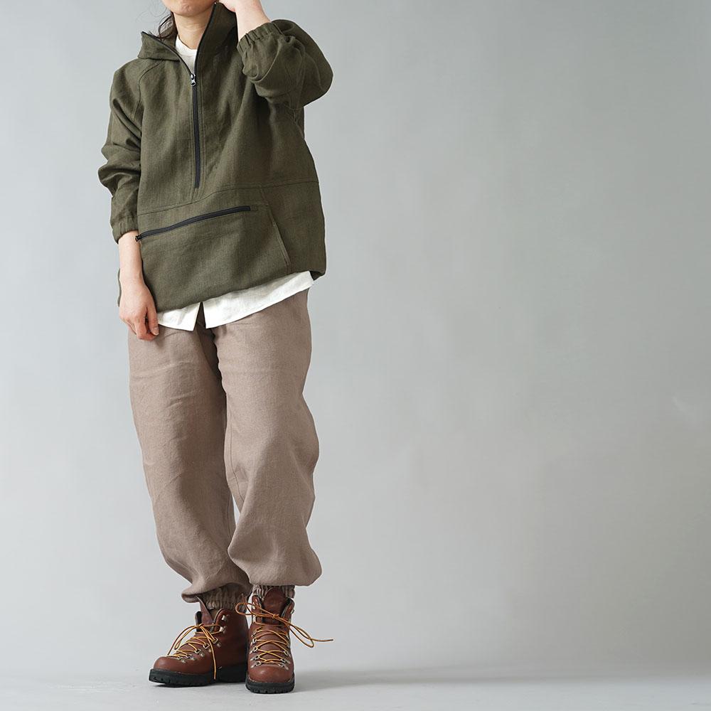 【wafu】リネンもんぺ  中厚リネン ヨガ スポーツウェアにも/丁子茶(ちょうじちゃ) b005d-cja2
