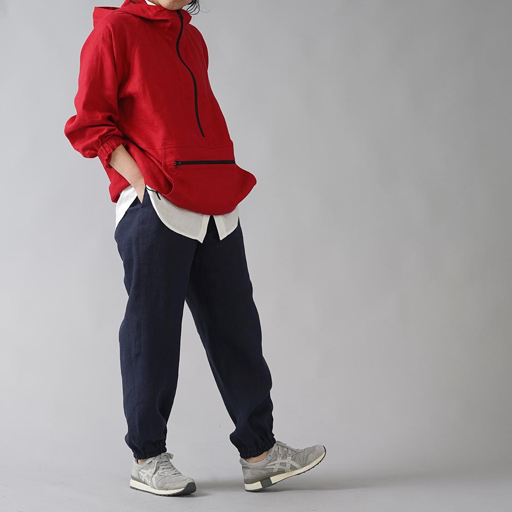 【wafu】リネンもんぺ  中厚リネン ヨガ スポーツウェアにも /ネイビーb005d-neb2