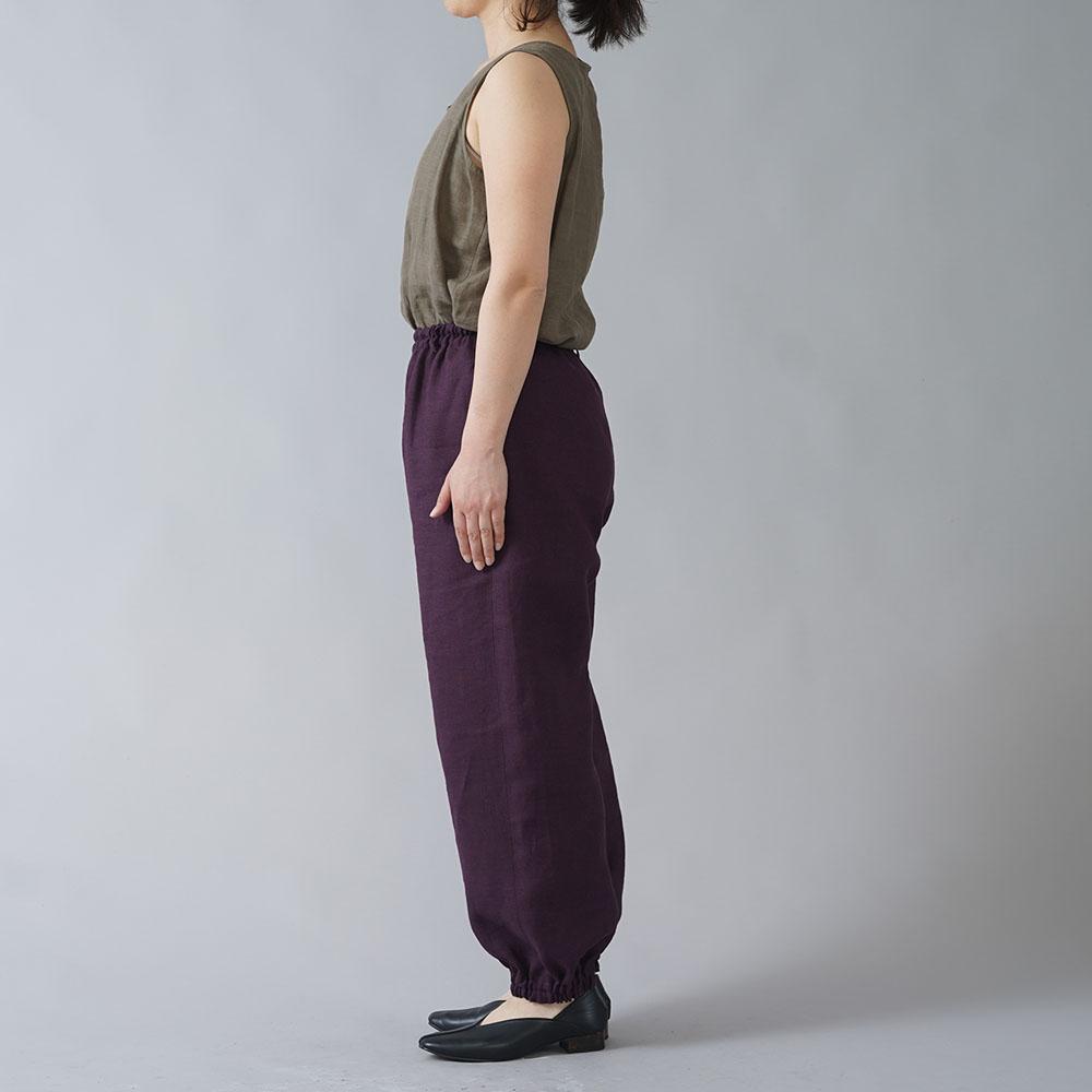 【wafu】リネンもんぺ  中厚リネン ヨガ スポーツウェアにも/紫根(しこん) b005d-skn2
