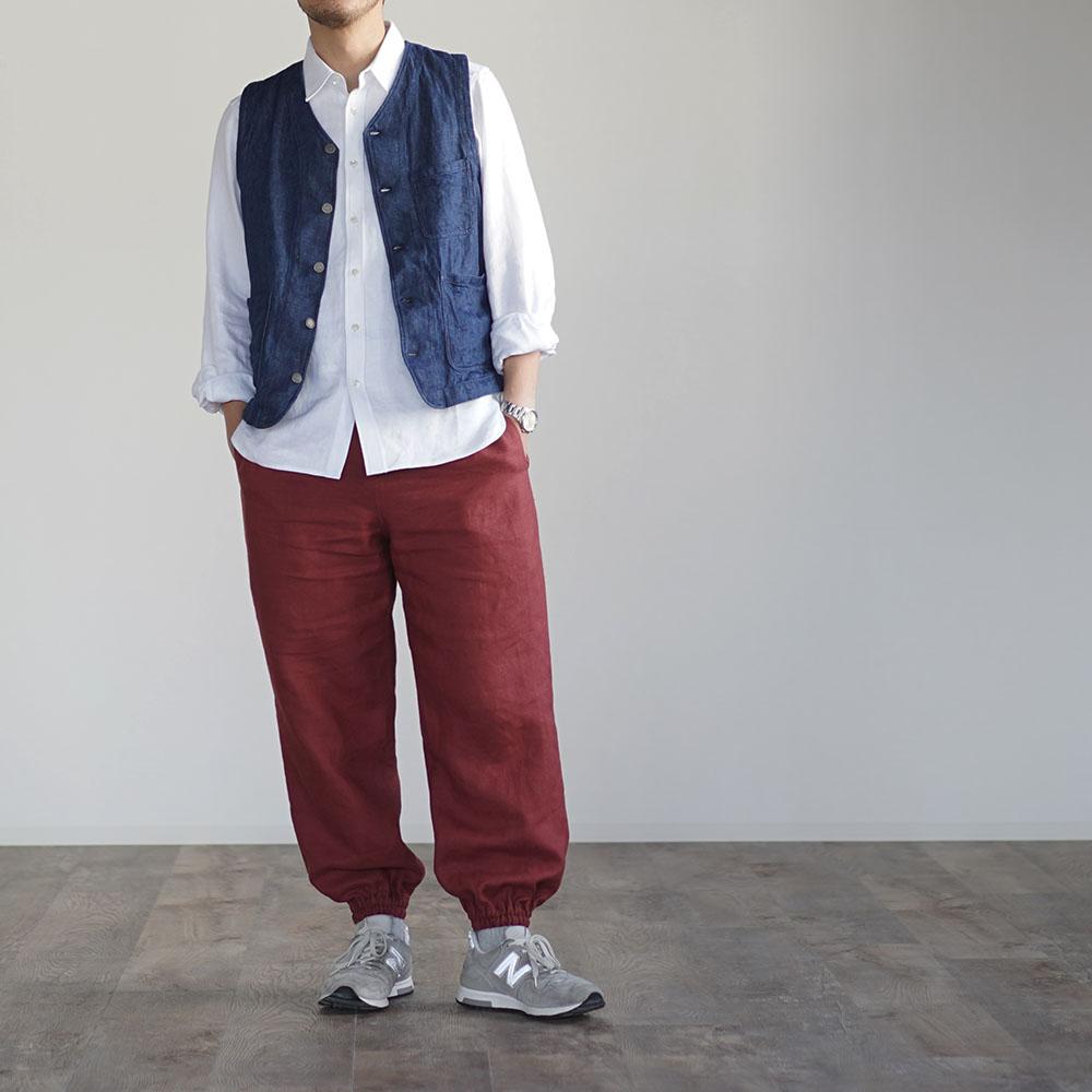 【wafu】リネンもんぺ  中厚リネン ヨガ スポーツウェアにも /蘇芳(すおう)b005d-suh2