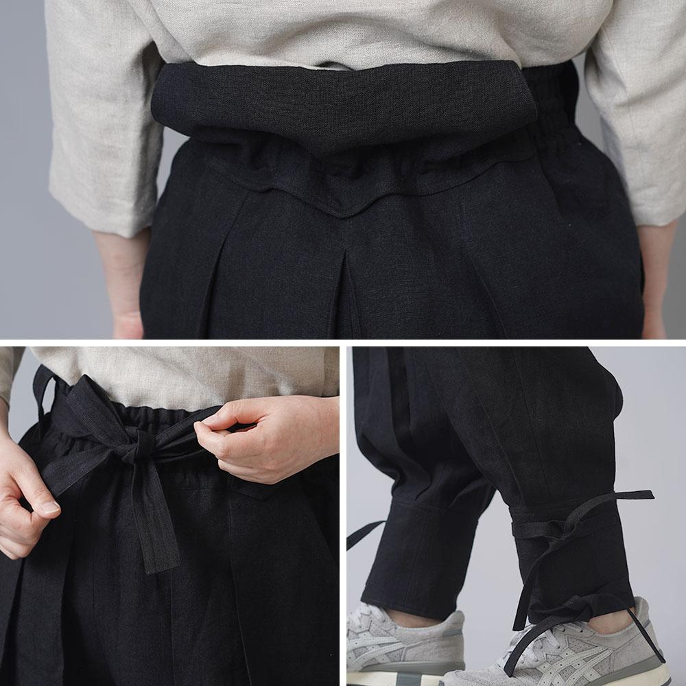 【wafu】linen100% 忍者パンツ ninja hakama japan 男女兼用 中厚リネン/ブラック b005e-bck2