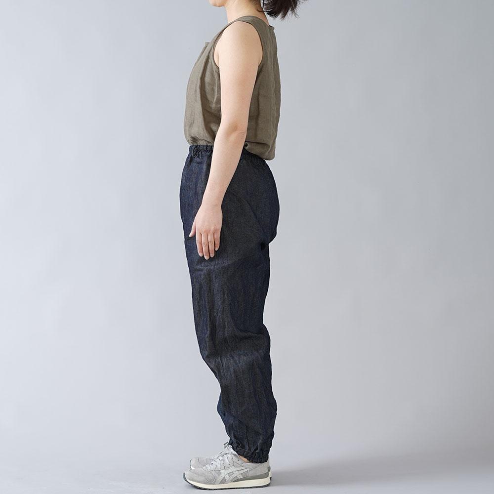【wafu】岡山県産リネン100% デニム もんぺ 男女兼用/ダークインディゴ b005f-din3
